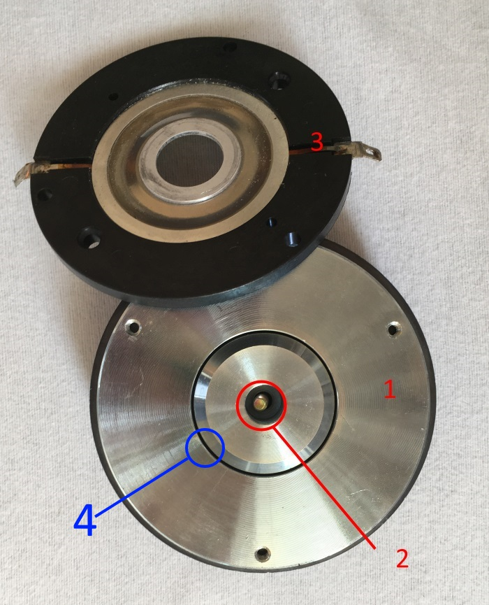 Bullet tweeter with diaphragm removed