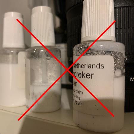 Luidspreker lijm met condensatie - niet gebruiken