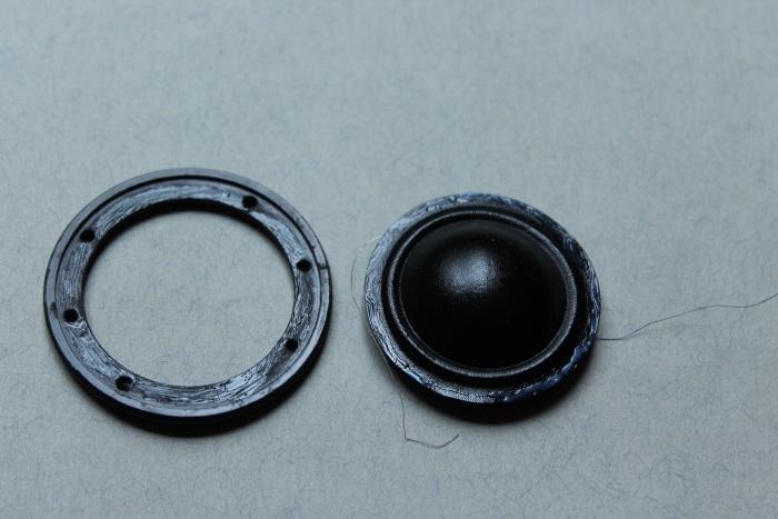 B&W N801S (TS26 80) tweeter repair: glue applied to the tweeter frame and the diaphragm