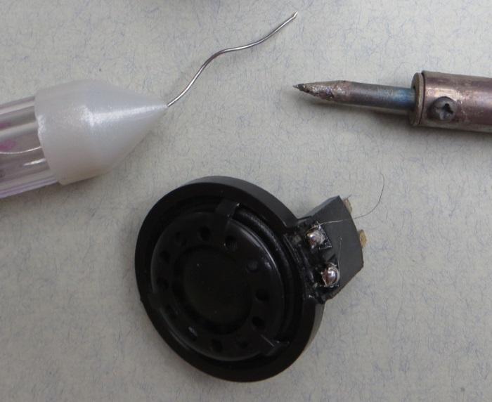 B&W CDM1 (ZZ9989 / ZZ09989) tweeter repair: diaphragm wires soldered to the tweeter connectors