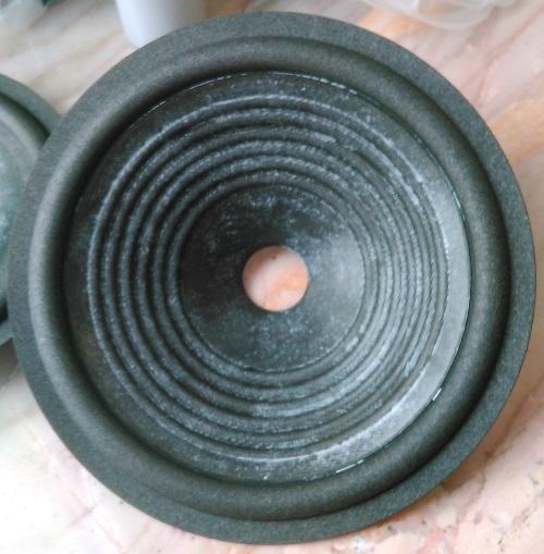 Luidsprekerconus, ingesmeerd met een laagje coating.
